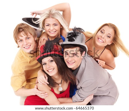 Group young people in party hat. Isolated.