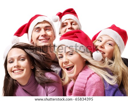 Group young people in santa hat. Isolated.