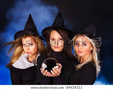 Group young woman with crystal ball. Fortune Telling. - stock photo