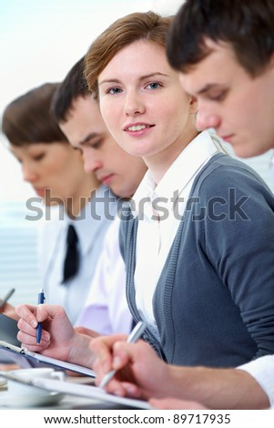 Groupe of students paying attention - stock photo