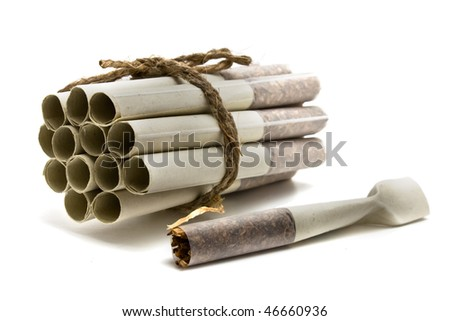 grouped cigarettes  on a white background