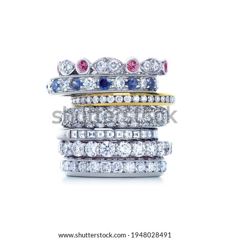grouping of color gemstone rings with colored diamonds and gemstones on white background Photo stock ©