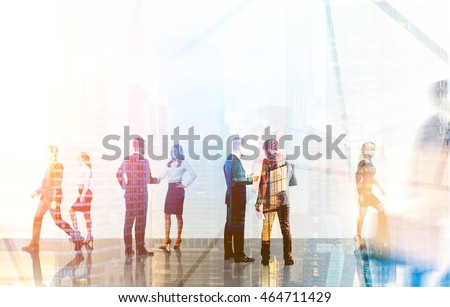 Groups of colleagues meeting each other in busy office lobby. Concept of business negotiations. 3d rendering. Toned image. Double exposure.