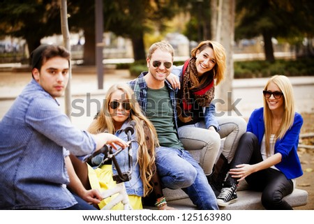 Groups of friends in the park