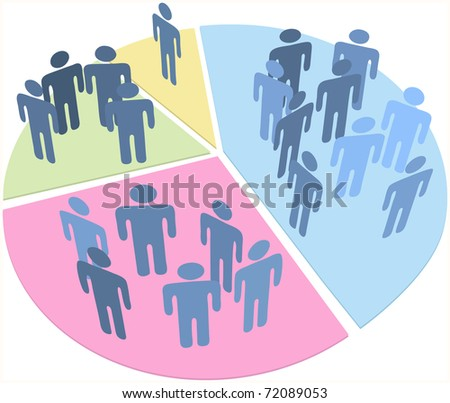 Groups of people as data statistics inside pieces of a pie chart