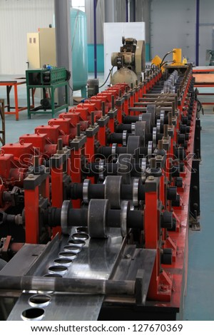 groups of transmission equipment in a warehouse, in a manufacturing factory