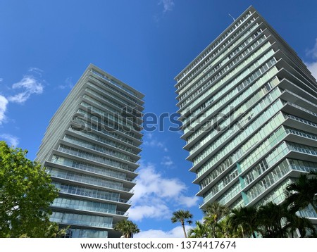 Grove at Grand Bay twin twisting towers located in Coconut Grove, Florida taken on April 17, 2019.