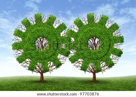 Growing business partnership and strategic alliance and financial teamwork with two trees in the shape of gears and cogs as strong conservative growth for success and future wealth on a blue sky.