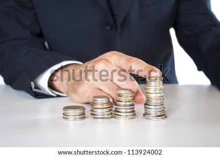 growing concept,business man with coins