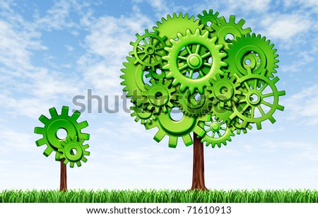 Growing economy and industry represented by a small tree growing to a big tree with gears as a symbol of industrial activity