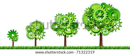 growing economy industry business growth green power gears cogs tree industrial environmental motion agriculture isolated