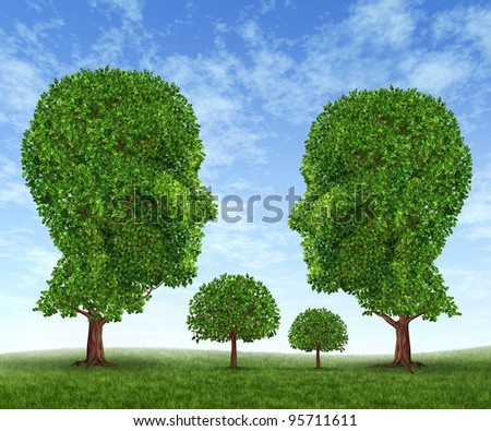 Growing family with a father mother son and daughter in the shape of tree symbols with green leaves on a blue sky as growth in domestic life relationship or the social challenges of a new society.