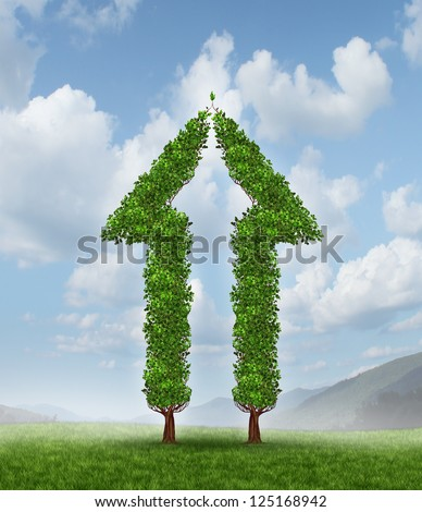 Growing group for partnership success as two trees in the shape of half an arrow coming together to form a whole upward symbol for financial wealth and high profits on a blue sky.