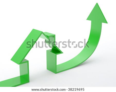 Growing home sales on white background