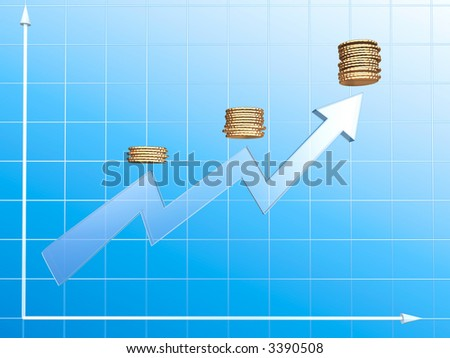 Growing income graph. 3d render image.