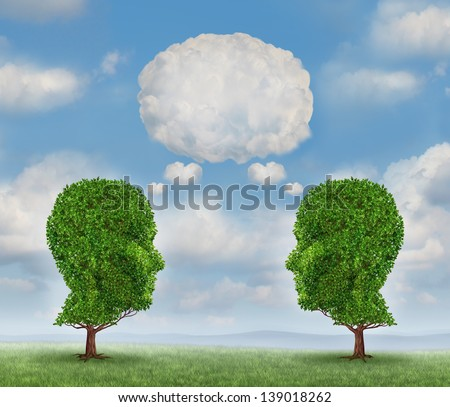 Growing network communication with a group of two trees shaped as a human head with a blank word bubble made of clouds as a business concept of team growth sending a message with cloud technology.