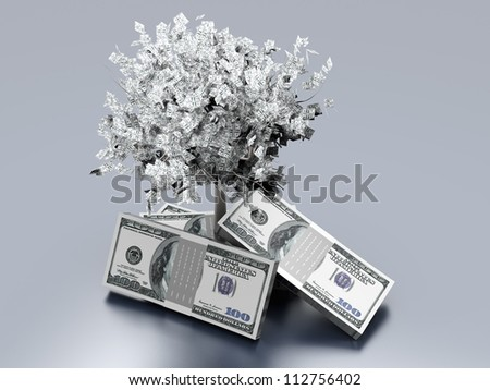 Growing Profit. Dollar notes with a money growing tree. 3D rendered illustration.
