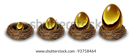 Growing savings as a financial chart in a gold nest egg increasing in size and value from a small investment to a very wealthy large retirement fund as a long term conservative investing strategy.
