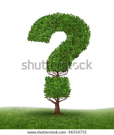 Growing search and information growth as a tree in the shape of a question mark on a white background and grass as a concept of answers and searching on the internet or answering questions.