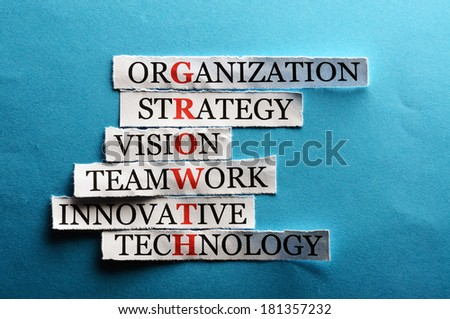 growth  acronym in business concept, words on cut paper hard light