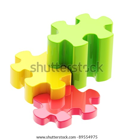 Growth and progress: colorful puzzle pieces as a staircase to success