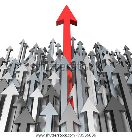 Growth and Success breaking through moving up and standing out from the crowd and aspiring with clear focus of a goal as a red arrow leading the race with grey arrows for  competition achievement.