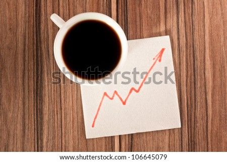 Growth chart on a napkin and cup of coffee