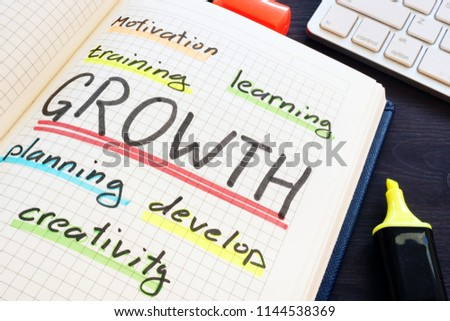 Growth concept. Training, planning, learning and motivation.
