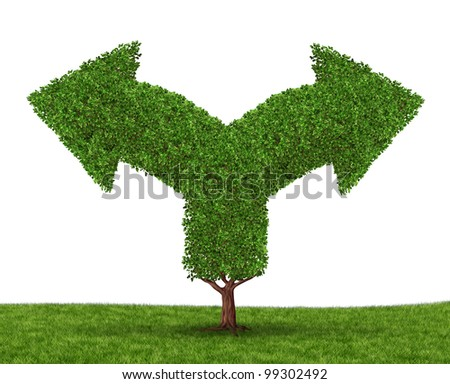 Growth decisions and choice dilemma with a tree in the shape of two arrows going in opposite directions as a concept of uncertainty due to businesses that grow to success experiencing growing pains.
