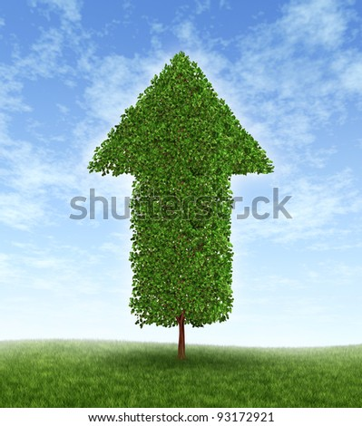 Growth investing and financial business success during economic good times as compound interest from productive investment with a green tree in the shape of an arrow pointing up to the blue sky.