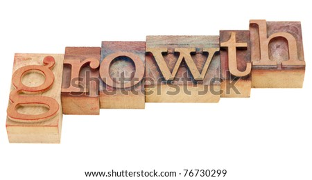 growth isolated word in vintage wood letterpress printing blocks