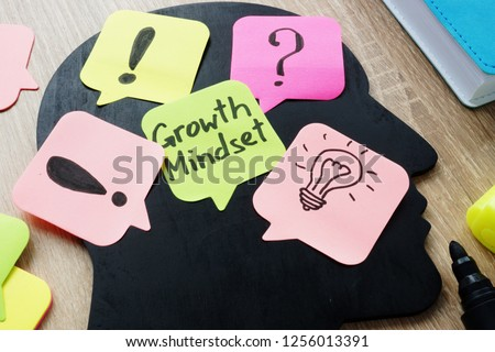 Growth Mindset written on a memo stick. #1256013391