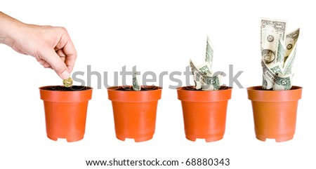Growth of incomes. Isolated on a white background.