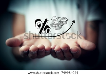 Growth percent and money Foto stock ©