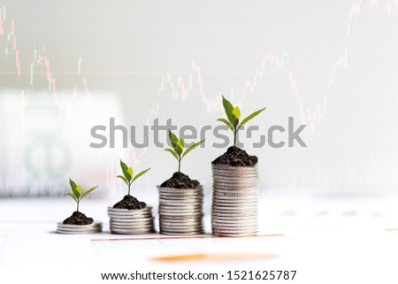 Growth plants economic on stack of coins on paper analyze performance financial graph funding with calculate for investment business. Investment and Saving Concept