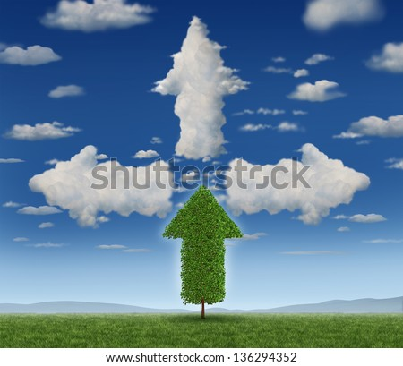 Growth potential with a growing arrow shaped tree and clouds as a business concept of success aspirations and ambition for career and investment future strategy.