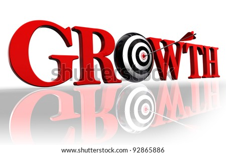 growth red word and conceptual target with arrow on white background