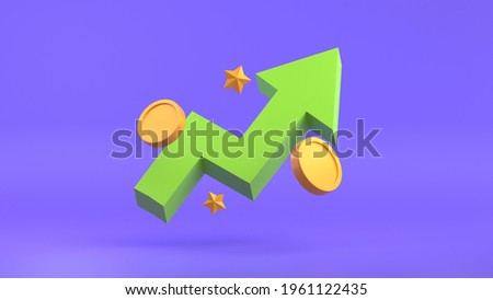 GROWTH STOCK CHART UP WITH COINS INVESTING ICON 3D RENDER ILLUSTRATION