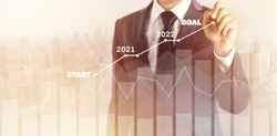 Growth success developments in 2021, 2022 to 2023 concept. Businessman in suit forecast analysis plan profit chart with pen and increase of positive indicators. graph business financial plan year.