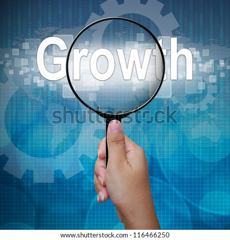 Growth, word in Magnifying glass; business background