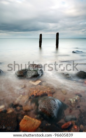 Groyne seascape on a west coast scottish beach