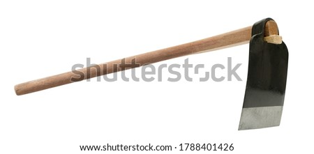 grub hoe or grab hoe, a garden or gardening tool equipment  isolated on white with clipping path Zdjęcia stock ©