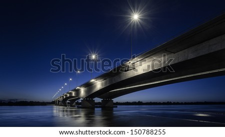 Grudziadz, Poland - motorway bridge near Grudzi?dz - the longest bridge in Poland, 1953 m.  Zdjęcia stock ©