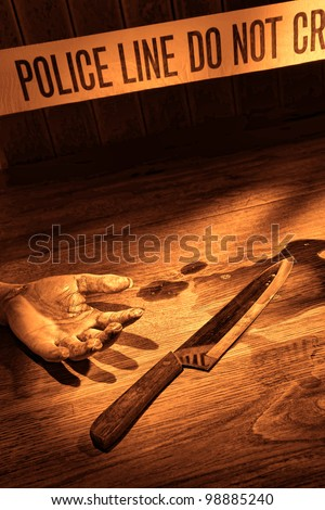 Gruesome forensic criminal murder crime scene with victim bloody dead woman hand and kitchen knife weapon evidence in a splatter of blood on floor with CSI police line tape in rough grunge sepia