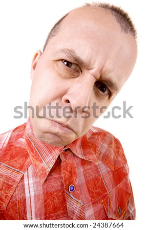 Grumpy middle aged man isolated on white