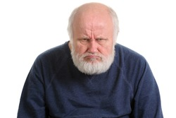 grumpy oldfart or dissatisfied and displeased old bald man isolated portrait isolated on white