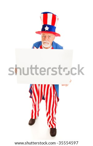 Grumpy Uncle Sam holding a blank sign.  Full body isolated design element.