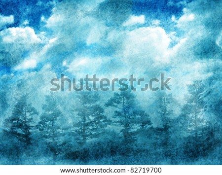grunge abstract  background with night forest and dramatic sky