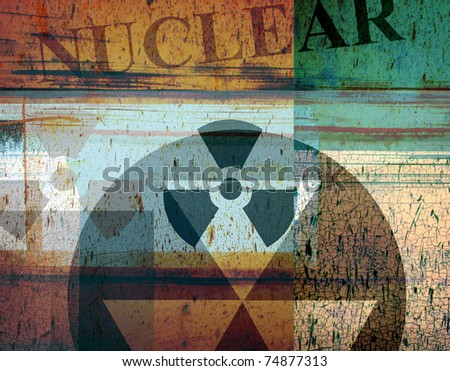 grunge abstract industrial collage with radiation and nuclear symbols