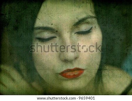 Grunge abstract portrait of gothic girl - stock photo